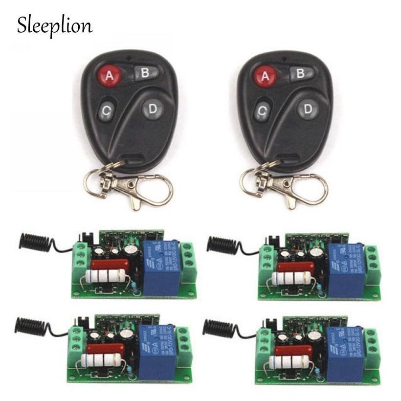 Sleeplion 433MHz AC 110V 10A 1CH Relay 2 4 key wireless Tech Remote Switch Transmitter 4