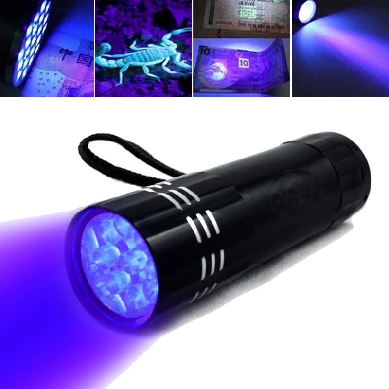 Black Mini Aluminum UV ULTRA VIOLET 9 LED FLASHLIGHT Torch Light Lamp Purple Light For Money Check Credit Card Check