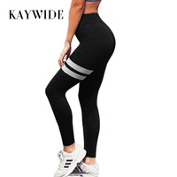 KAYWIDE 2017 Women Pants Trousers Series New High Waist Fitness Elastic Sporting Leggings For Women Striped Print Stretch Capris