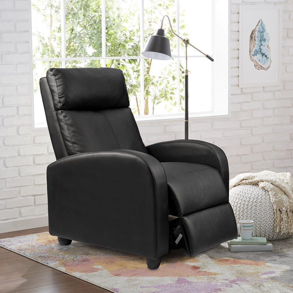 Homall Single Sofa Recliner Chair Padded Seat Black PU Leather Living Room Recliner Modern Sofa