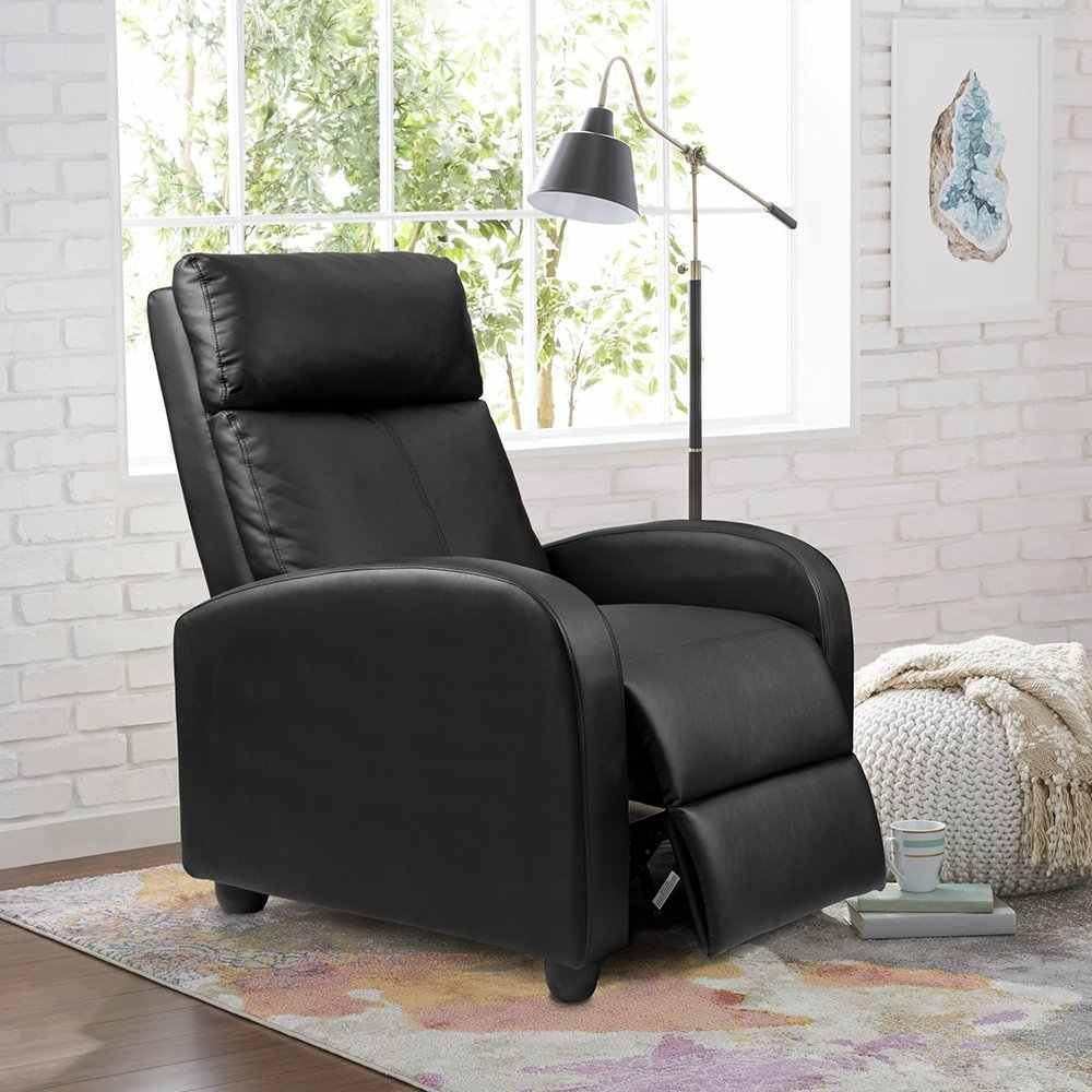 Excellent Homall Single Sofa Recliner Chair Padded Seat Black Pu Caraccident5 Cool Chair Designs And Ideas Caraccident5Info