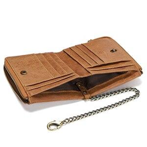 Image 5 - CONTACTS prawdziwej skóry mężczyzn portfel RFID z zabezpieczeniem przeciw kradzieży łańcucha etui na karty mężczyzna portfel podwójny zamek błyskawiczny monety kiesy rocznika