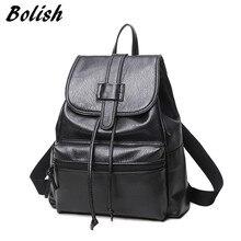 Bolish из искусственной кожи Для женщин женский рюкзак элегантный дизайн Обувь для девочек школьная сумка больше Размеры Путешествия Рюкзак Черный Цвет дамы daypack