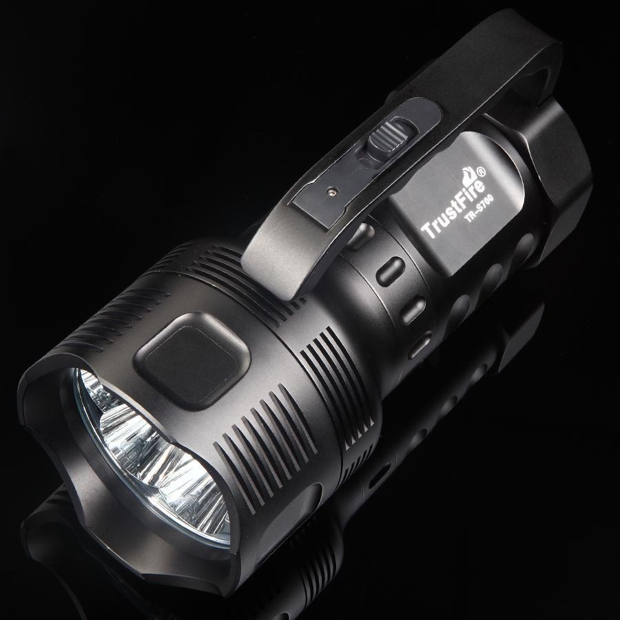 TrustFire TR-S700 7 x Cree XM-L T6 2 Mode 3800lm Cool White Portable Flashlight Black (3 x 26650) trustfire j20 tr j20 12 x cree xm l t6 7800lm cool white 5 mode flashlight black 3 x 26650 32650