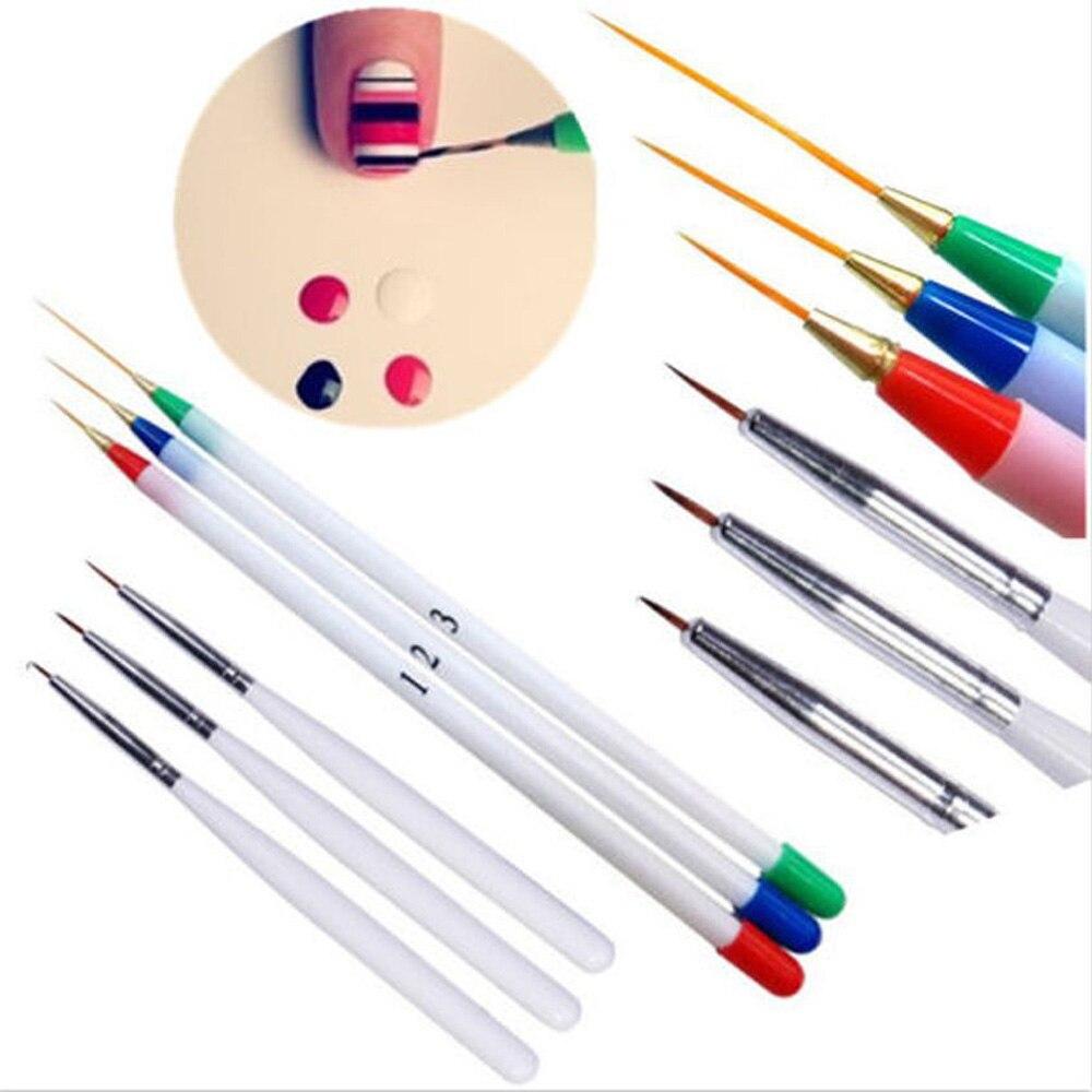 6Pcs/Pack Nail Art Pens Brushes 3 Fine Drawing 3 Striping Liner ...