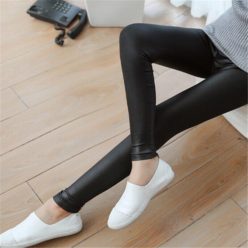 1 Pcs Mode Leggings Imitation Leder Matt Leder Hosen Frauen Dünne Abschnitt Elastische Dünne Lange Hosen