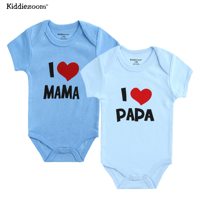 c9ff8569 US $7.64 49% OFF|2018 2pc/lot Kiddiezoom Newborn short sleeve Baby Boy  Clothes Set I love Mama Papa Design Printing Girl Clothing Rompers Set-in  ...