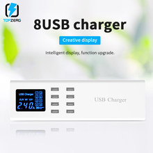 8 Port USB LED Display Dinding Charger Adaptor Soket Charger untuk Iphone Huawei Usb Mobil Charger Stasiun Dock Uni Eropa US Plug(China)