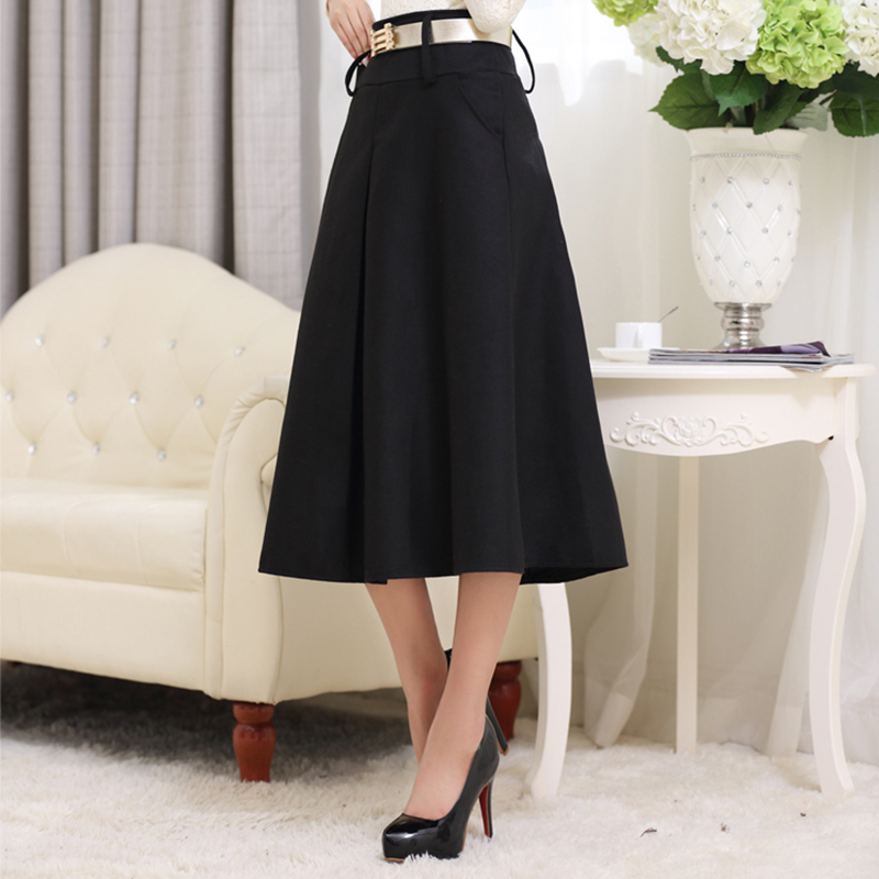 1409fe25abcb9 New Vintage Big Hemline A line Flared Skirt High Waist Elegant Pleated  Umbrella Skirts Long Ball Gown Plus Size Skirt S XXL-in Skirts from Women s  Clothing ...