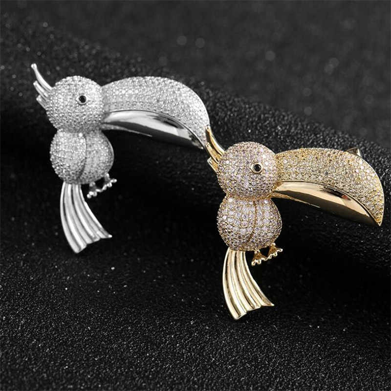 Kreatif Toucan Berlian Imitasi Pin Bros Vintage Handmade Burung Hewan Bros untuk Wanita Aksesoris Perhiasan Brocade Femme Bijoux