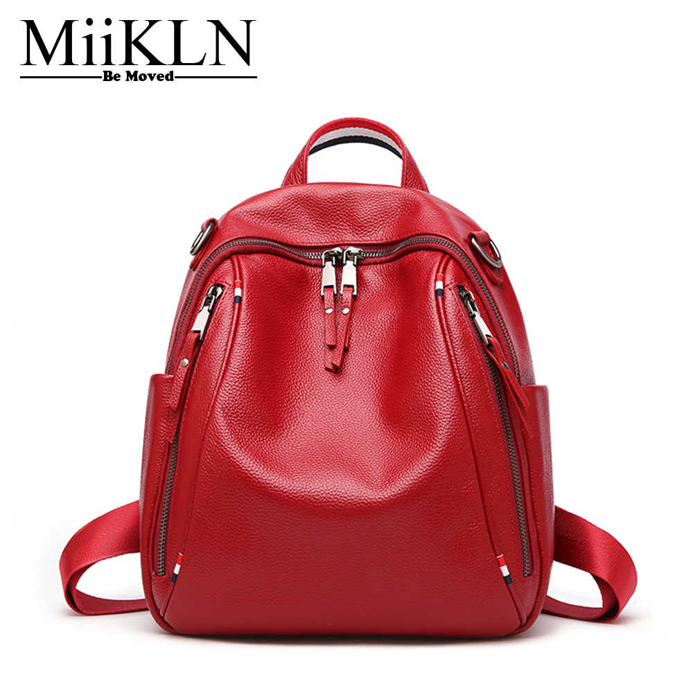 d49bc251a1 MiiKLN Black Red Zipper Fashion Women Travel Shopping Backpack Genuine  Leather Ladies Cow Leather Backpack