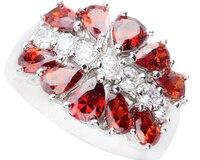 جميلة مستوحاة الأحمر العقيق 4*6 ملليمتر شبه الكريمة حجر فضة كول للمرأة حلقة Q1272
