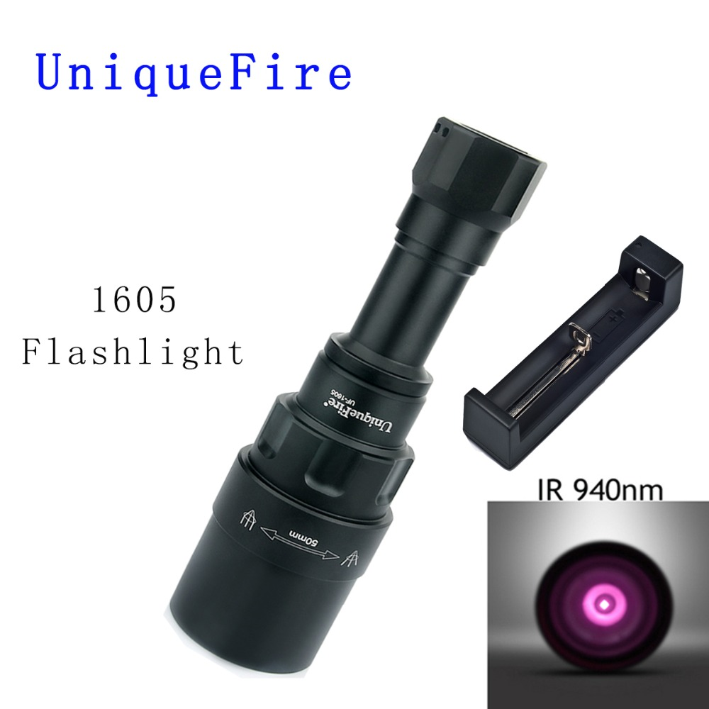 UniqueFire 1605 IR 940NM LED Flashlight 50mm Lens Infrared Light Night Vision Troch 3 Mode Rechargeable with Charger For Hunting uniquefire 1605 ir 940nm led flashlight 38mm lens infrared light night vision troch adjustable rechargeable for hunting kit set