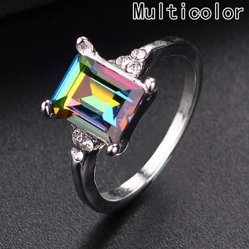 แฟชั่น Mens ผู้หญิงที่มีสีสันหินสแควร์ Zircon แหวนบุคลิกภาพความคิดสร้างสรรค์ฝังสายรุ้งคริสตัลแหวน Zircon คุณภาพสูง