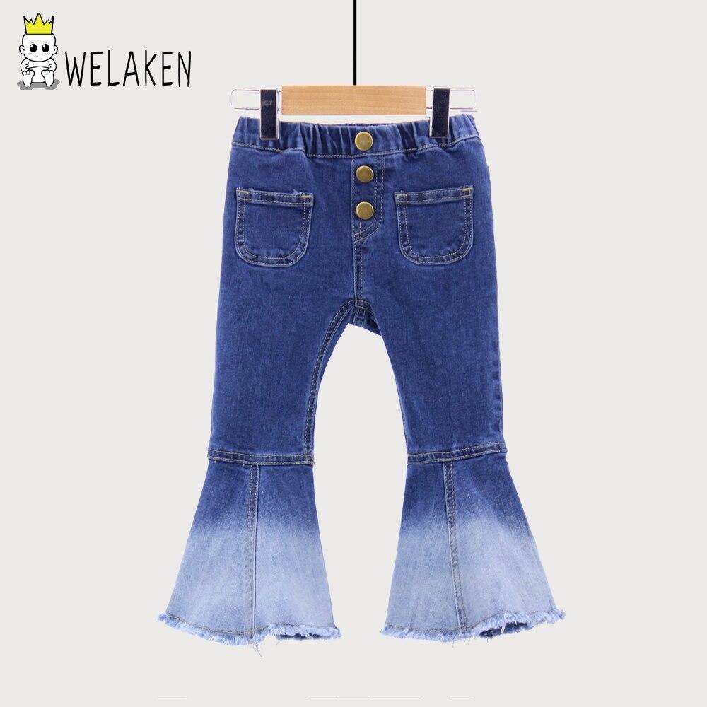 WeLaken más grande tamaño nuevos niños Vintage Jeans niñas pantalones vaqueros campana pantalones niños otoño Outwear
