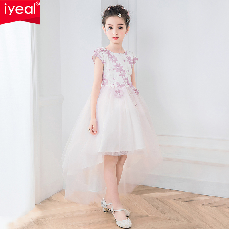 IYEAL Elegant Girls Sleeveless Wedding Dress Appliques Party Tulle Princess Birthday Dress First Communion Gown for Girls 4-12Y baby girls dress for wedding bow elegant tutu dress birthday party dress sleeveless voile girls christening gown for party dress