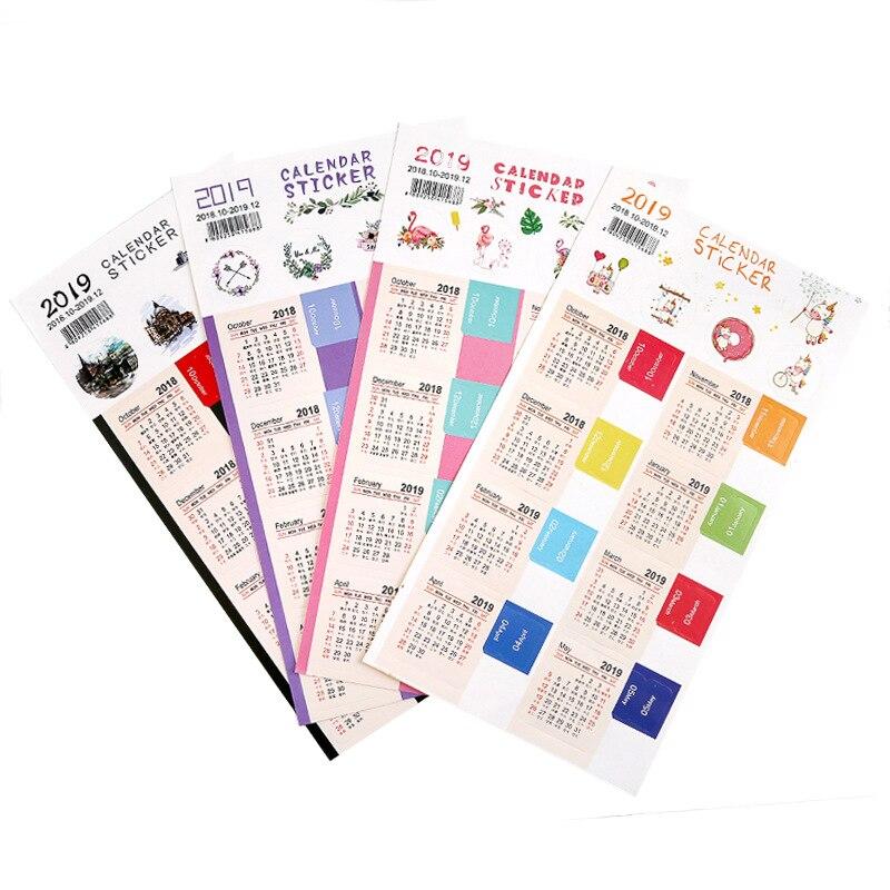 2 Teile/satz 2019 Handschrift Kalender Aufkleber Notebook Index Label Aufkleber Zeitplan Planer 2018,10 ~ 2019,12 Kalender, Planer Und Karten