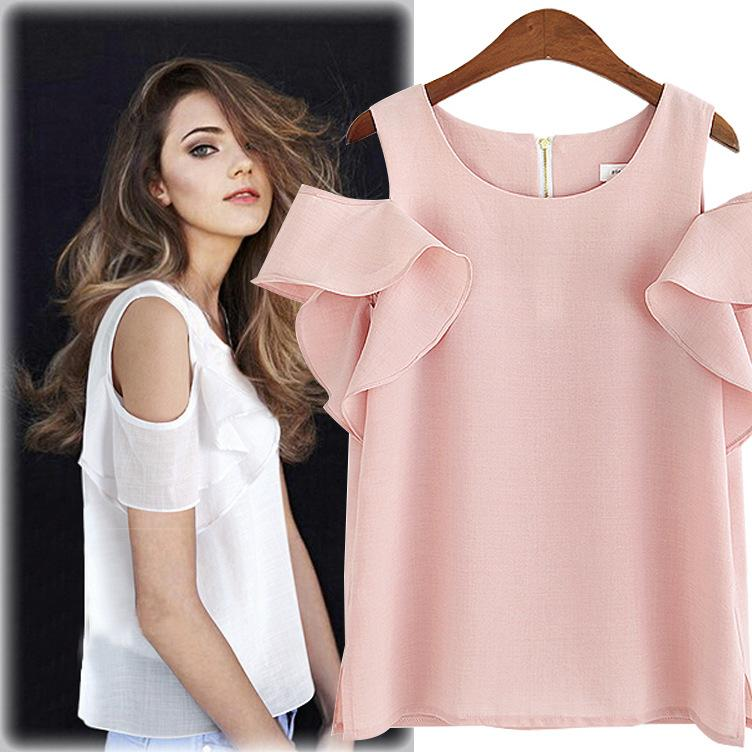 0249ede3abec13 Summer New Fashion Short Sleeve Chiffon Blouse Casual Solid White Shirts  Women off Shoulder Tops Ruffles Ladieswear Clothes-in Blouses & Shirts from  Women's ...