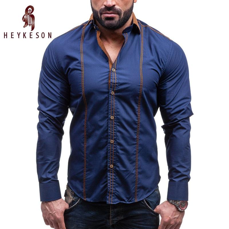 Heykeson الرجال قميص ماركة 2018 الذكور حجم كبير طويل كم قميص عارضة ضرب اللون يتأهل أسود رجل اللباس قميص 4xl c958
