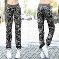 Mulheres Camuflagem Calças Casuais 2017 Nova Moda Das Senhoras Camo Jogger Calças Cintura Elástica Multi-Bolsos Frete Grátis