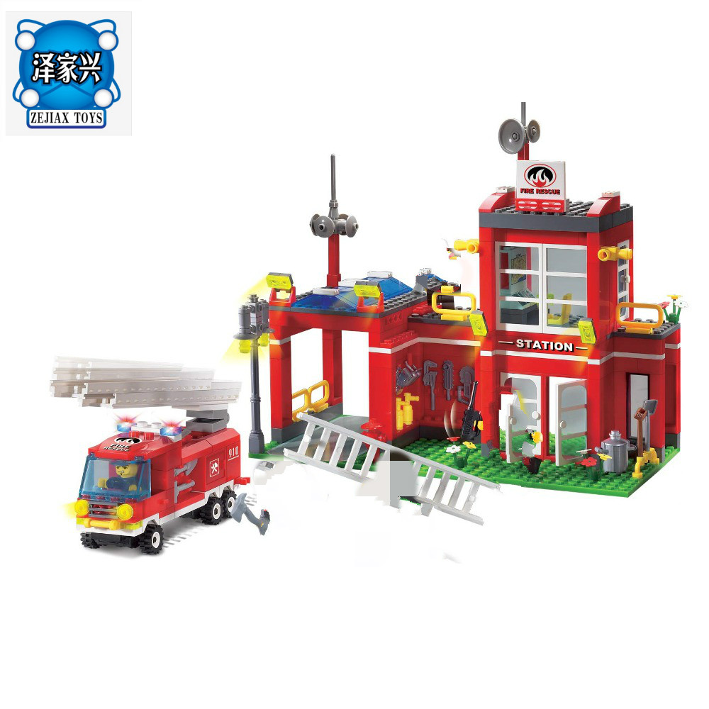 Enlighten Building Block Fire Rescue Fire Station Branch 5 Firemen 380pcs Brick Block Toy Gift for Children Compatible Lepins 607pcs enlighten building block fire rescue scaling ladder fire engines 5 firemen educational diy toy for children