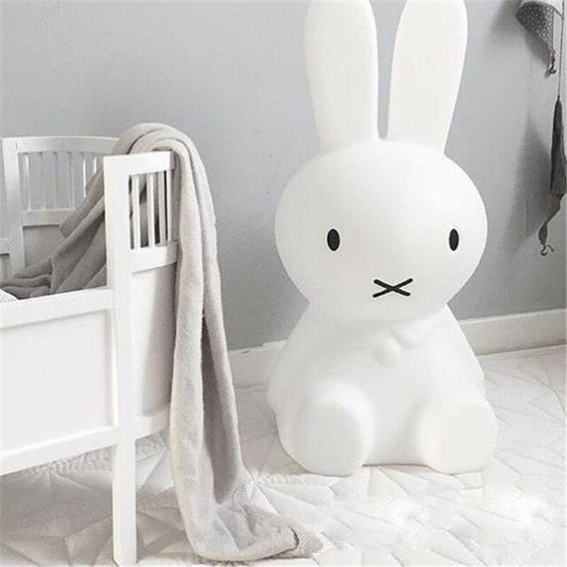 Ins Hot 80cm Rabbit Children LED Bed Table Lamp Baby Bedroom Dimmable LED Night Light for Kids Gift
