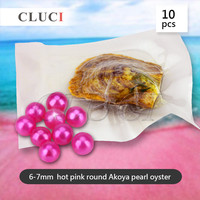 AAA Grade 10pcs Akoya Hot Pink Skittle Pearls In Oysters With Vacuum Packing Bright Colorful Round