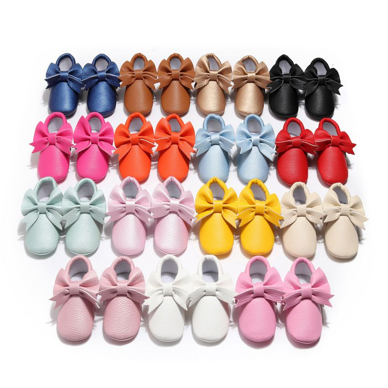 Baby Shoes Children Casual Shoes Toddler Girl Breathable PU Bow Anti-Slip Shoes Casual Sneakers Infant Soft Soled First Walkers