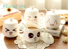 Ceramic Mug Creative Cover Spoon Coffee Milk Cup Cute Expression Family Kitchen Supplies