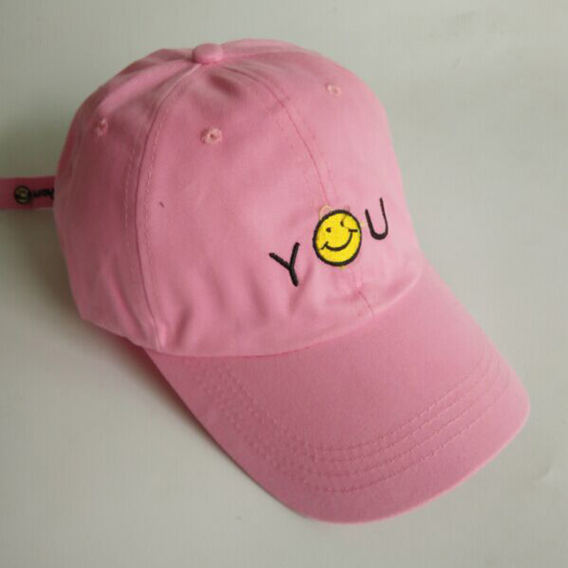 2016 Fashion Letter Embroidery Smiling Face Baseball Caps Spring Summer Hats For Women And Men Lovers Cap 3 Colors 2002 fashion solid color baseball cap for men and women