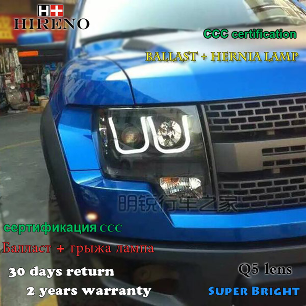 Hireno Car styling Headlamp for 2011-2014 Ford Raptor F150 Headlight Assembly LED DRL Angel Lens Double Beam HID Xenon 2pcs hireno headlamp for cadillac xt5 2016 2018 headlight headlight assembly led drl angel lens double beam hid xenon 2pcs