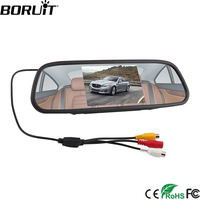 BORUiT 5 Car Rearview Mirror Monitor Rear View Camera TFT 800*480 LCD Car 4 LED Night Vision Parking Assistance System