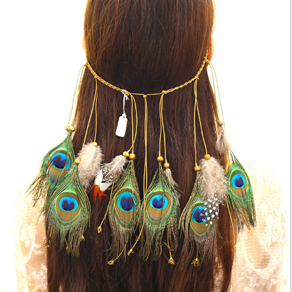 UILZ Bohemian Hippie Headband Feather Headdress Fashion Indian Peacock Hair Accessories Jewelry