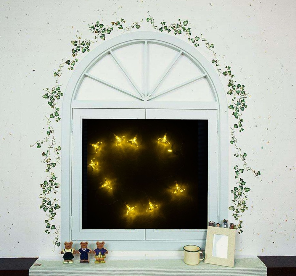 New 10 beads LED Solar Panel Lamp Glass Adsorption Wall String Light Window Bedroom Kitchen Energy Saving Garland Lighting Decor