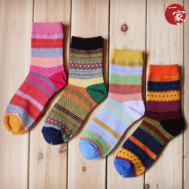 Stripe  Multi-Color Cotton Socks