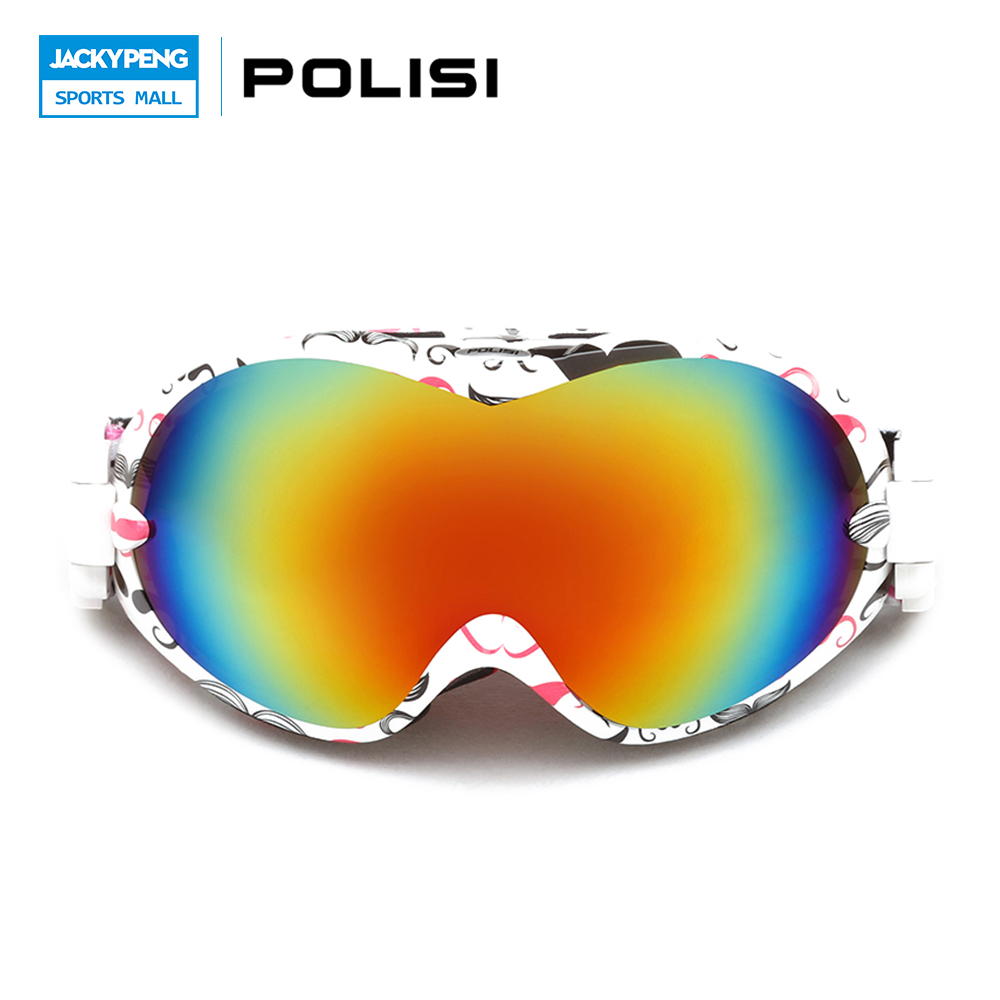 ФОТО POLISI Professional Men Women Ski Snow Goggles Double Layer Anti-Fog Big Spheral Lens Snowboard Glasses UV400 Skiing Eyewear