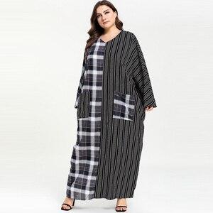 Image 5 - Женское клетчатое платье с карманом в полоску, длинное платье в мусульманском стиле с карманом абайя, Размеры M  4XL