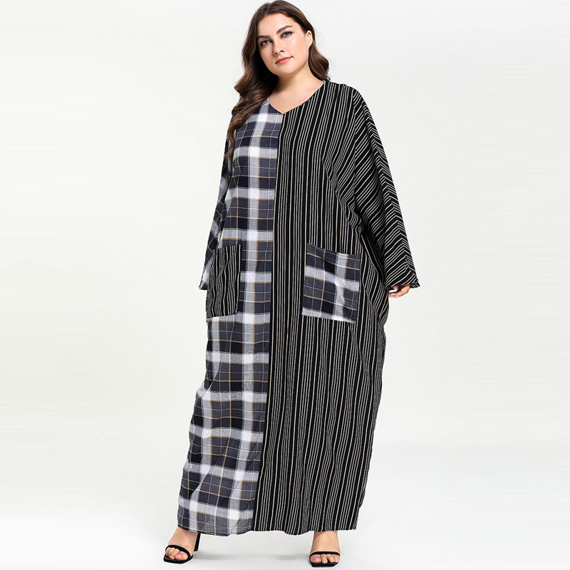 Image 5 - Plus Size Women Plaid Patchwork Striped Pocket Abaya Muslim Dress
