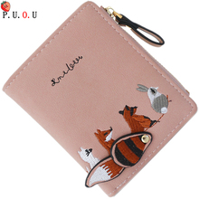 High quality Vintage Embroidery Animal Leather Women Mini Wallet Girl Small Purse Female Coin Credit Card Holder Dollar Price MM flying birds short wallets women dollar price leather wallet clutch purse women bags high quality credit card bag lm4243fb