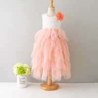 Everweekend Princess Girls Tutu Cake Lace Party Dress Multi Color Ruffles Tulle Sweet Children Holiday Birth Day Dresses