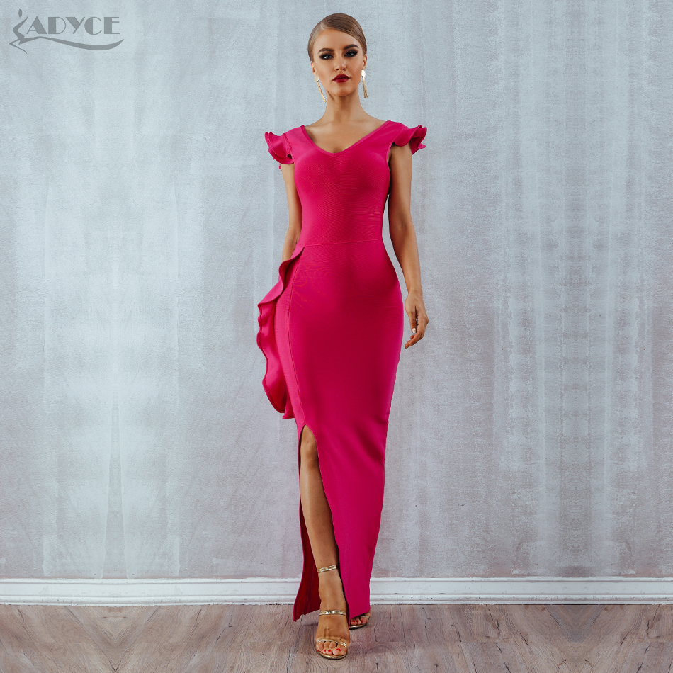 ADYCE 2019 New Summer Women Bandage Dress Vestidos Sexy Sleeveless Rose Red Ruffle Club Dress Maxi