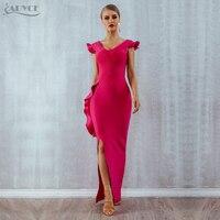 ADYCE 2020 New Summer Women Bandage Dress Vestidos Sexy Sleeveless Rose Red Ruffle Club Dress Maxi Bodycon Celebrity Party Dress