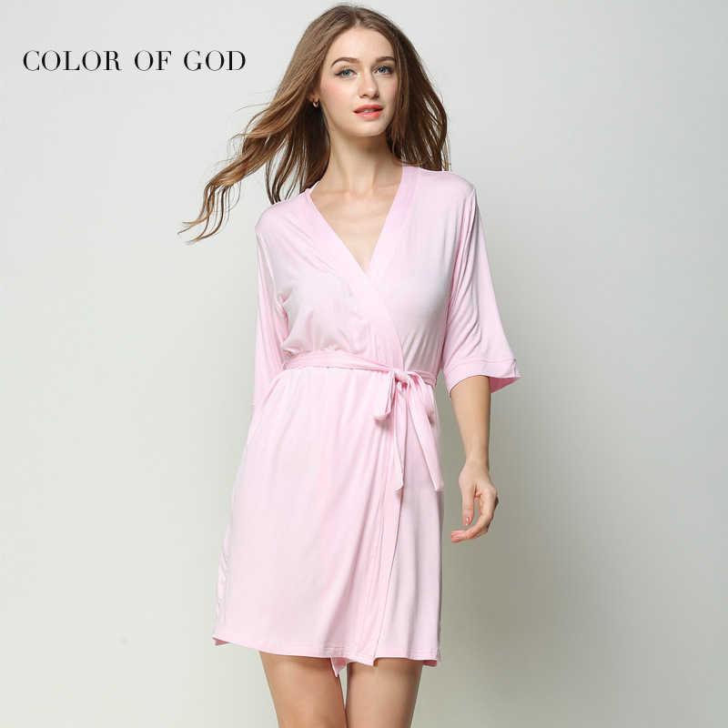 a0596cb848 Sexy Women Bathrobe Mid-sleeve Babydoll Kimono Night Dress Female Pink  Temptation Nightgown Soft Nightie