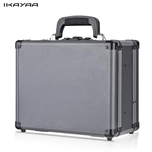 IKayaa Double Sided Aluminum Hard Pistol Handgun Case With 2 Combination  Locks Security Gun Storage Box