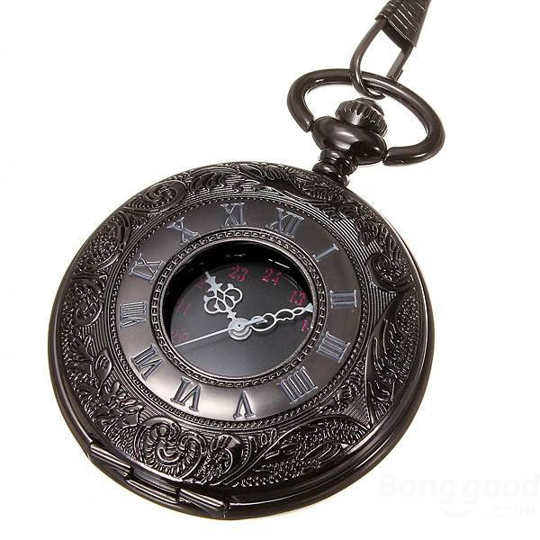 Fashion Black Steel Case Dual display Skeleton Men Quartz Pocket Watch Gift Chain P427C