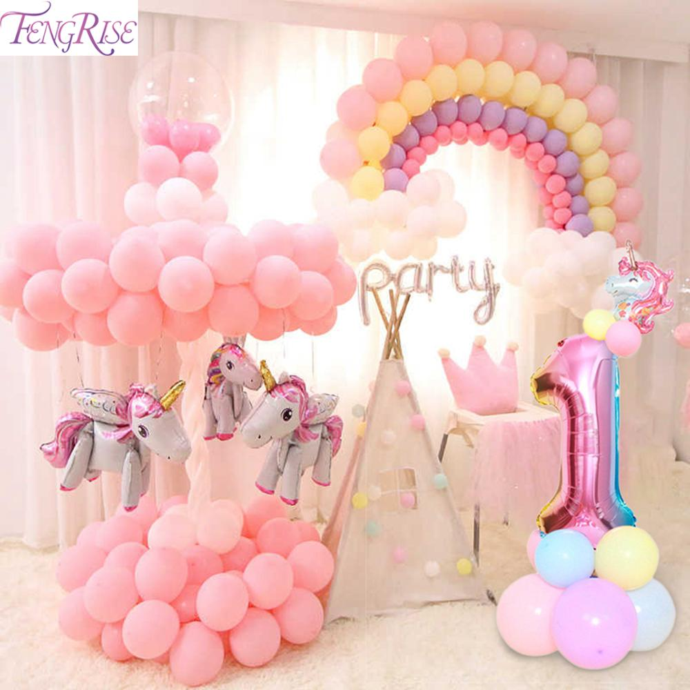 Macaron Figure Birthday Balloons Unicorn Party Decor Unicorn Foil Ballon Number Baloon 1st Birthday Party Decor Kids Baby Shower-in Ballons & Accessories from Home & Garden