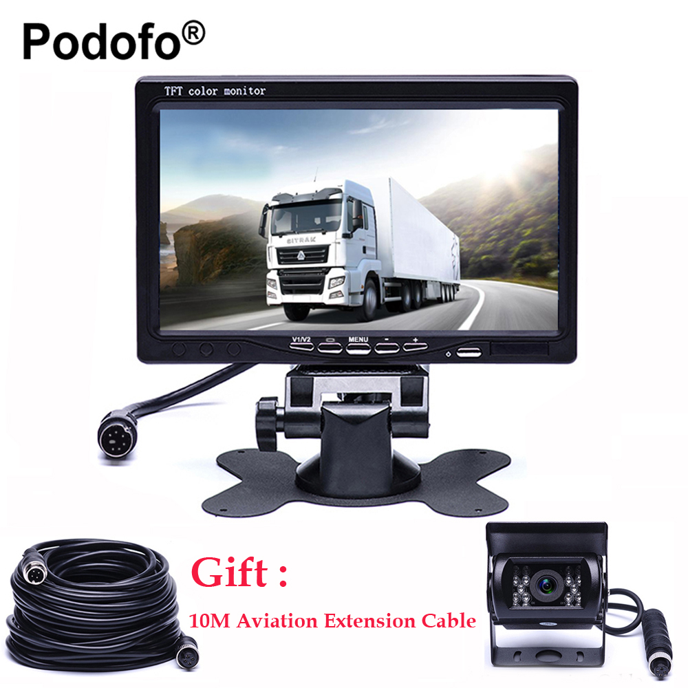 цена на Podofo 7 Inch TFT LCD Rear View Display Monitor Waterproof 4pin IR Night Vision Reversing Backup Rear View Camera for Bus Truck