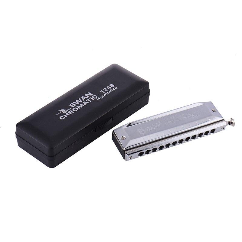 SWAN 12 Hole Key of C 48 Tones Advanced Chromatic Harmonica Mouth Organ Silver Steel Deck-plate + Copper Base Plate все цены