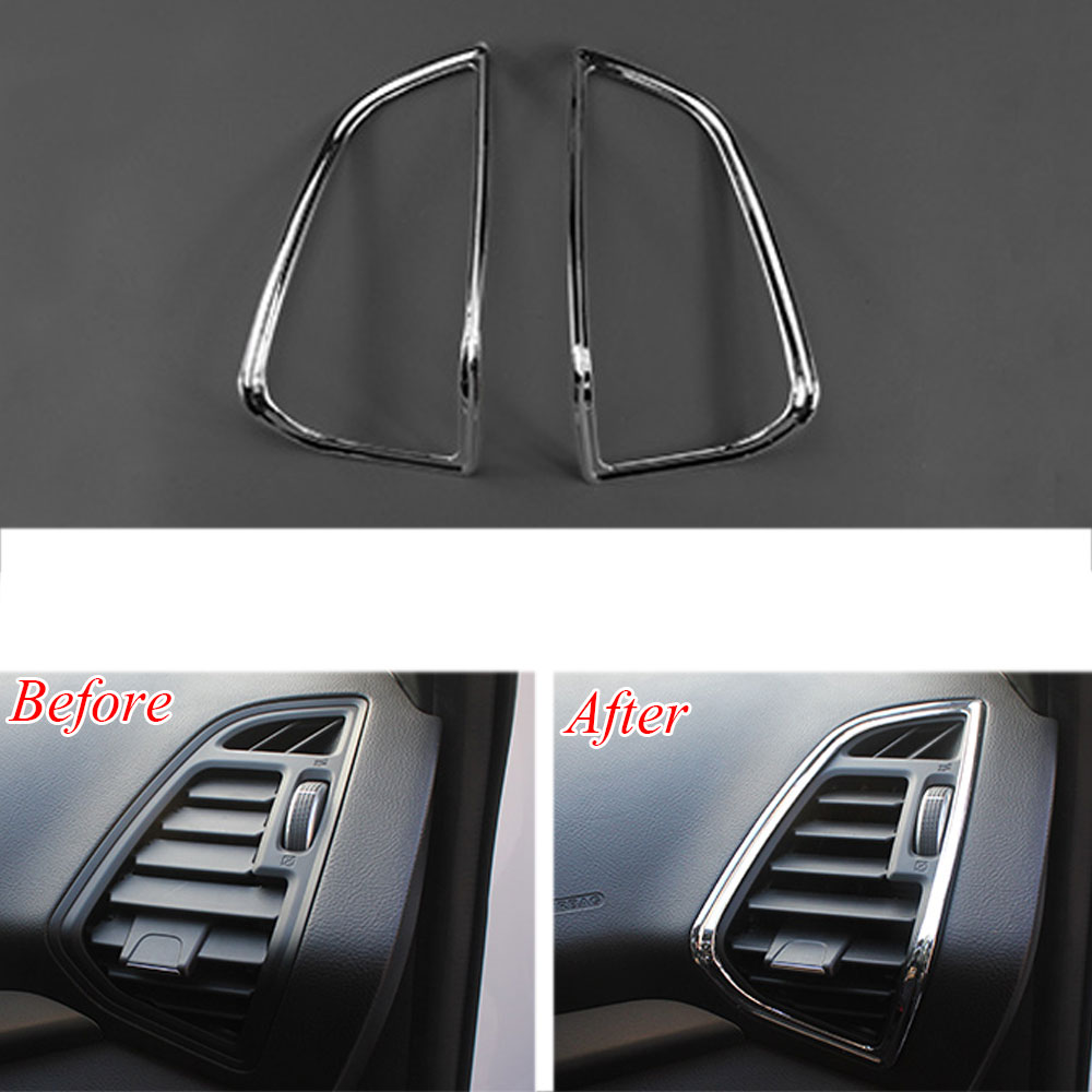 цена на Auto Car Front Side Dashboard A/C Air Vent Cover Trim Sticker Chrome ABS Fit For 13 Ford Escape Kuga Car Styling Accessories