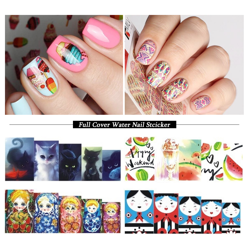 1pcs Full Wraps Water Transfer Sticker Nail Art Decals Cartoon Flowers Tattoos Nail Foil Slider Decoration Tips SASTZ455-469 233 style new 8 pcs lot flower nail decals leopard nail art transfer foil sticker tips decoration christmas snow nails